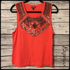 Express coral sequin tank top